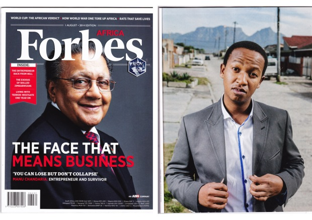 Bheki, pictured to the right, is profiled in the August 2014 issue of Forbes Africa.